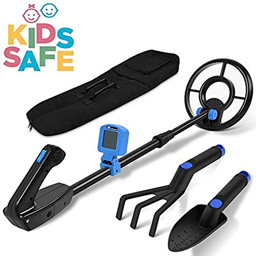 RM RICOMAX Metal Detector for Kids -【7.4'' Waterproof Search Coil】 LCD Junior Metal Detector【from 24'' to 35'' Adjustable Stem】【Buzzer Vibration Sound】【2LB Lightweight】【Easy to Use Waterproof】