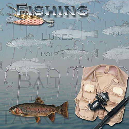 Fishing (14259) 12 inch x 12 inch Scrapbook Paper - 1 Sheet