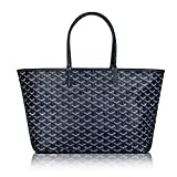 Stylesty Designer Shopping PU Tote Bag Set, Fashion Women Shoulder Handbags with Key Ring (Medium, Darkblue)