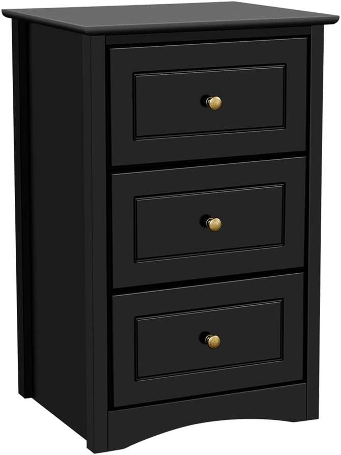 Yaheetech Tall Bedside Table Nightstand with 3 Drawers – End Side Sofa Table Storage Cabinet for Bedroom Black