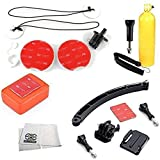 Surf Accessory Kit Includes Surfboard Mount Kit + Arm Extention Kit + Floaty Sponge & 3M Adhesive + Bobber Handle with Thumb Screw + Microfiber Cleaning Cloth for GoPro HERO4 Session - HERO4 - HERO3+ - HERO3 (Black - Silver & White) - HERO & HERO+ LCD