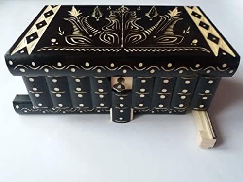 Enorme caja puzzle de rompecabezas caja de joyería mágica regalo tesoro premium nueva caja muy grande caja de misterio hecho a mano negro tallado rompecabezas de madera de almacenamiento de madera