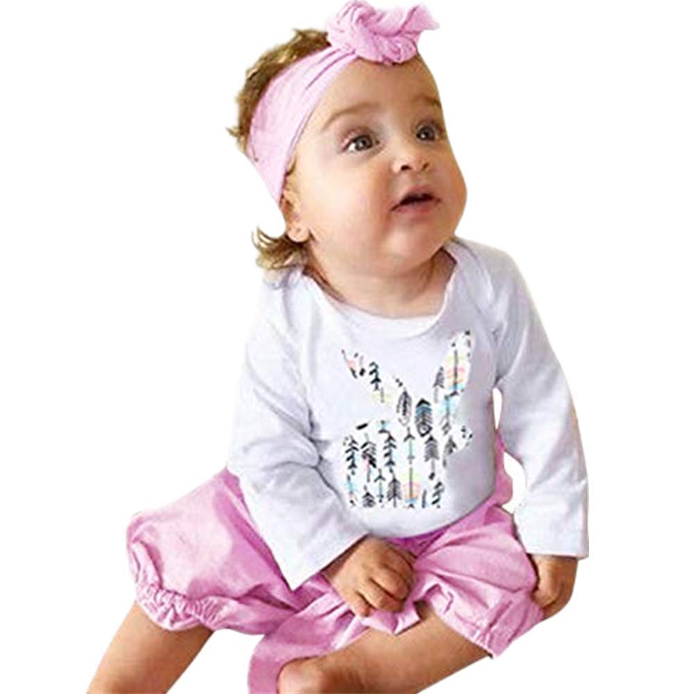 NUWFOR Infant Baby Girls Rabbit Print Romper Jumpsuit+Pants+Headband Outfit Clothes(White,12-18Months