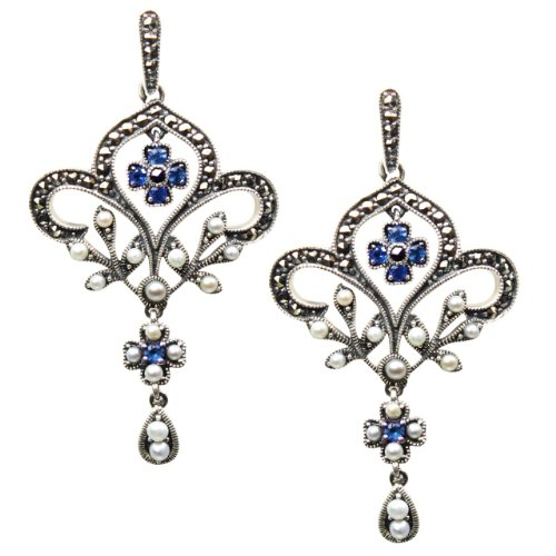 Fleur-de-lis Sapphire Cultured Seed Pearl Sterling Silver Earrings - Dahlia Vintage Collection