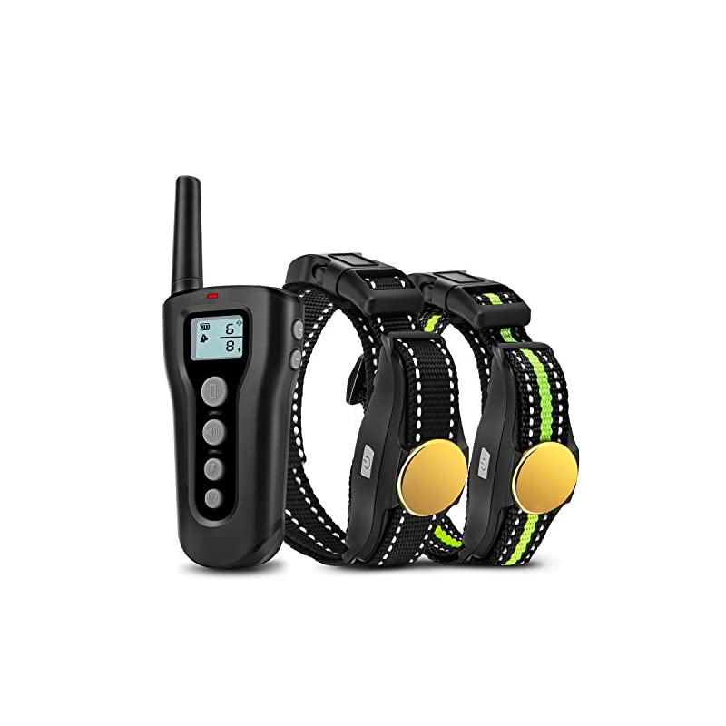 dog supplies online bousnic dog training collar 2 dogs upgraded 1000ft remote rechargeable waterproof electric shock collar with beep vibration shock for small medium large dogs