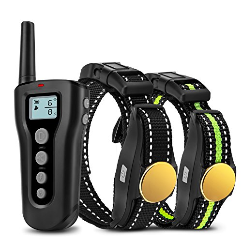 Bousnic Dog Training Collar 2 Dogs Upgraded 1000ft Remote Rechargeable Waterproof Electric Shock Collar with Beep Vibration Shock for Small Medium Large Dogs (10lbs - 120lbs)