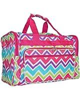 World Traveler Pink Multicolor Zig Zag Chevron Print Duffle Bag 19-Inch