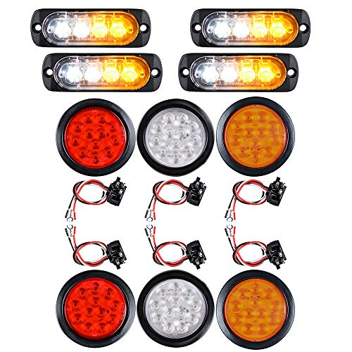 4pcs Amber White Ultra Slim 4-LED Warning Emergency Strobe Lights and 2 AMBER 2 RED 2 WHITE 4