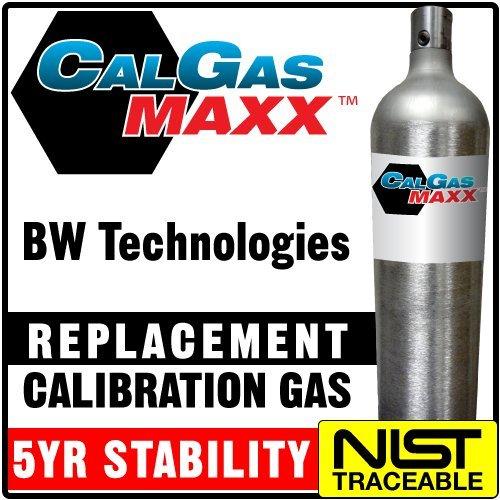 Multi Calibration Gas Mix: 25 PPM Hydrogen Sulfide, 100 PPM Carbon Monoxide, 2.5% (50% LEL) Methane, 18% Oxygen, Balance Nitrogen (58 Liter) by CalgasMAXX (Image #1)