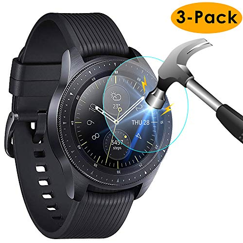 KIMILAR [3-Pack] Compatible Samsung Galaxy Watch Screen Protector 42mm, Waterproof Tempered Glass Screen Protector Cover Compatible Samsung Galaxy Smartwatch, [Crystal Clear] [Scratch Resist]