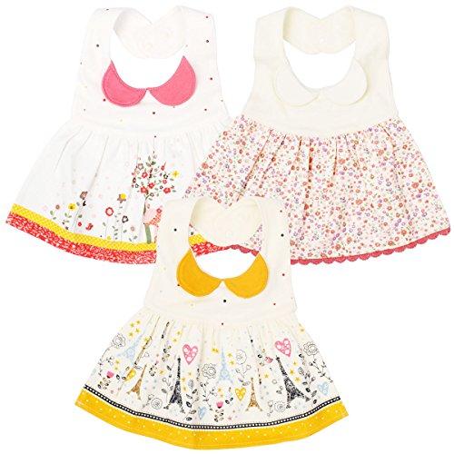 EGOFLEX 3-Pack Premium Baby Bibs Dress - Feeding, Teething Drool Burp Cloths Waterproof for Baby Girls and Toddlers with Adjustable Snap -