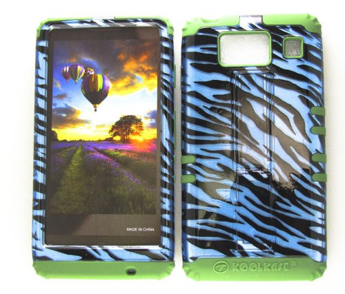 Motorola Green Transparent Faceplates (HYBRID IMPACT SILICONE CASE + ARMY GREEN SKIN FOR MOTOROLA DROID RAZR HD XT926 TRANSPARENT BLUE ZEBRA)