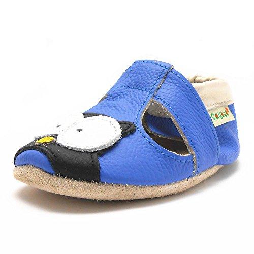Sayoyo Suaves Zapatos De Cuero Del Bebé Zapatillas Búho Azul