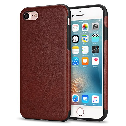 TENDLIN iPhone 7 Case iPhone 8 Case with Premium Leather Outside and Flexible TPU Silicone Hybrid Slim Case for iPhone 7 and iPhone 8 (Brown)