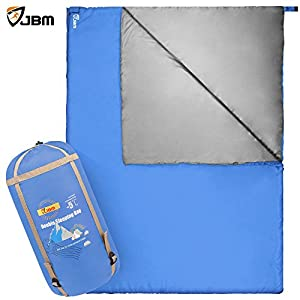 JBM Double Sleeping Bag 30F 4 Season Cool Weather 5 Colors Water Resistant And Large Size Envelop Sleeping Bags For Adults Couple Camping Hiking Traveling Packaging Compression Sack Included