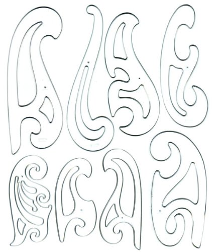 Westcott French Curve Template Set of 8 by Westcott