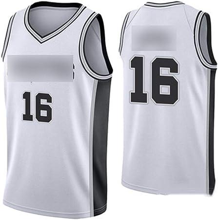 HS-WANG9 San Antonio Spurs # 16 PAU Gasol Juego de Baloncesto Chaleco Deportivo Competición Equipo Uniforme Entrenamiento Traje de Pelota,Blanco,2XL: Amazon.es: Hogar