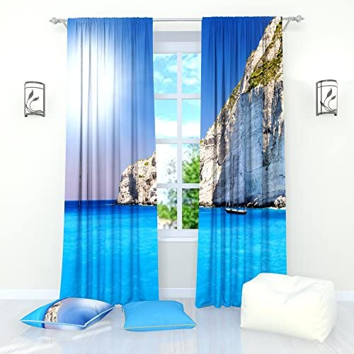 Factory4me Landscape Curtains Water Blue sea. Window Curtain Set of 2 Panels Each W52 x L96 Total W104 x L96 inches Drapes for Living Room Bedroom Kitchen