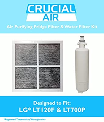 1 LG LT120F Air Purifying Fridge Filter & 1 LG LT700P Refrigerator Water Purifier Filter, Fits ADQ36006101 & ADQ36006101-S, Designed & Engineered by Crucial Air