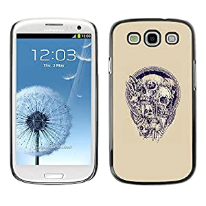 A-type Colorful Printed Hard Protective Back Case Cover Shell Skin for SAMSUNG Galaxy S3 III / i9300 / i747 ( Blue Purple Skull Agony Death Metal )