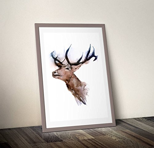 Original Signed Watercolor (Fine Art Print of My Original Stag Head Deer Watercolor Painting Signed A3 A4 Wildlife Animal)