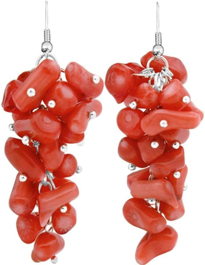 MNGGNM Pendientes de Perlas de Coral de racimo Irregular para Mujer Joyería Antigua Plateada Plata de la Manera de la Vendimia