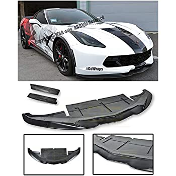 Replacement for 2014-2019 Chevrolet Corvette C7 EOS Aero Bottom Line Style Carbon Fiber Front Bumper Lower Lip Splitter EOS-FLIP-081-BKCF