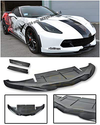 Replacement for 2014-Present Chevrolet Corvette C7 | EOS Aero Bottom Line Style ABS Plastic Primer Black Front Bumper Lower Lip Splitter with Side Extension Deflectors (Front Aero Bumper)