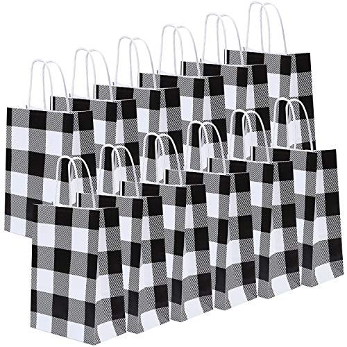 Black And White Gift Bags (Cooraby 20 Pieces White and Black Plaid Paper Party Bags Christmas Gift Bag Birthday Kraft Party Bags with Handle for Wedding and Party)