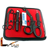 LAJA IMPORTS 17 PIECE FIRST RESPONDER TACTICAL KIT SHEARS EMT/SCISSORS COMBO PACK WITH HOLSTER, TACTICAL ALL BLACK - IDEAL FOR EMT, FIRST RESPONDER, FIREFIGHTER, MILITARY, POLICE AND MEDIC