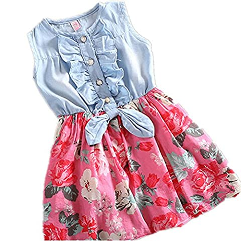 Martofbaby Girls Flower Denim Princess Dress Floral Print TutuSkirt Pink 9-10T - Girls Pink Floral Denim
