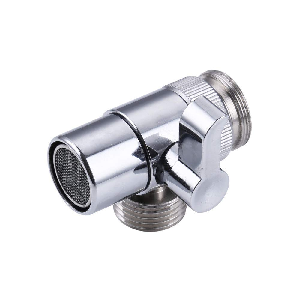 BeautyShe Counter top Water Filters Diverter Valve and Faucet Adapter for Hose Attachment, Faucet Connector for Water Diversion,for Kitchen Sink Faucet or Bathroom (Stainless Steel)
