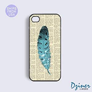 iPhone 4 4s Tough Case - Newspaper Cute Feather iPhone Cover