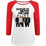 Women's New Kids On The Block 100% Cotton 3/4 Sleeve Athletic Raglan Sleeves T-Shirt Red US Size L