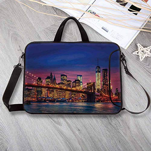 703 Latex - New York Neoprene Laptop Bag,NYC That Never Sleeps Neon Lights Reflections on East River City Print Laptop Bag for Office Worker Students,17.3