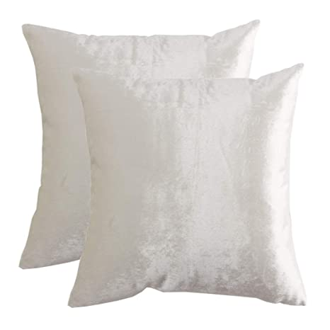 GIGIZAZA Gold Velvet Decorative Throw Pillow Covers for Sofa Bed 2 Pack Soft Cushion Cover (Rice Ivory, 20 x 20- Set of 2)