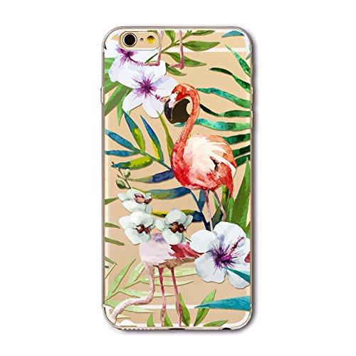 Coque iPhone 6 Plus 6s Plus Housse étui-Case Transparent Liquid Crystal en TPU Silicone Clair,Protection Ultra Mince Premium,Coque Prime pour iPhone 6 Plus 6s Plus-Flamingo-style 14