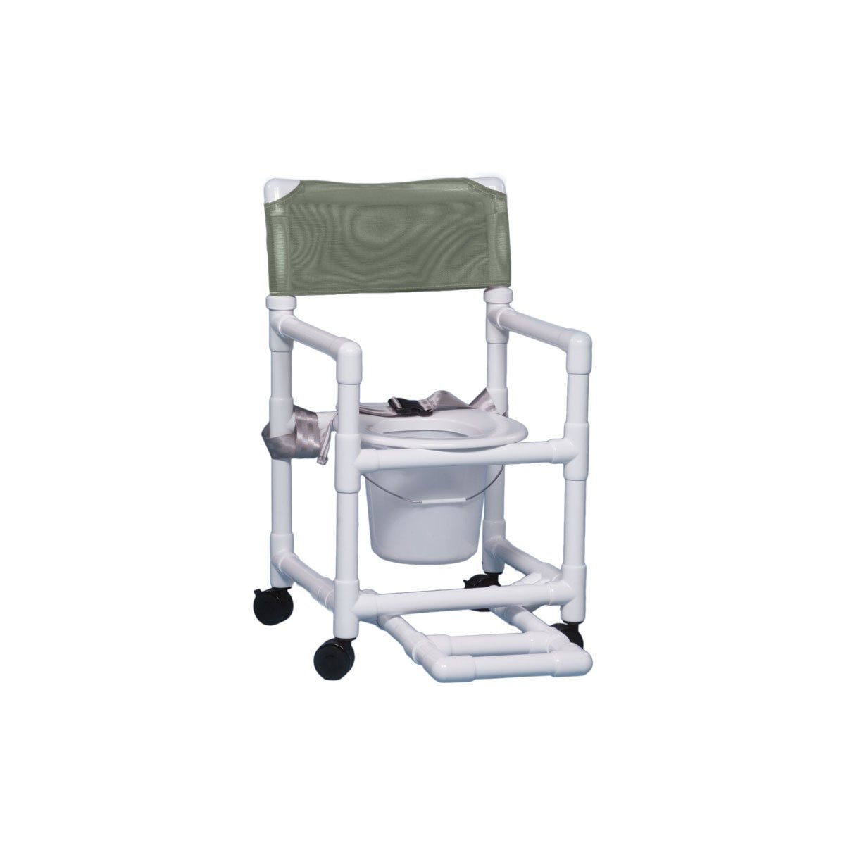 Shower Chair Commode with Footrest & Seat Belt 17'' Clearance-Autumn Fern