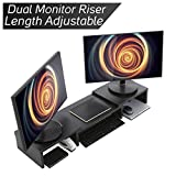 computer organizer - Wood Dual Monitor Stand Riser with Adjustable Length Multi Media Speaker TV PC Laptop Computer Screen Stand Riser Desktop Stand Storage Organizer for iMac,Printer,Notebook,Xbox One,Black