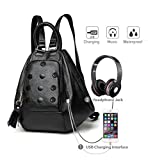 Deal Especial 3 way use girls Stylish designer shoulder bag and backpack with USB charging port or Aux port for music gifts