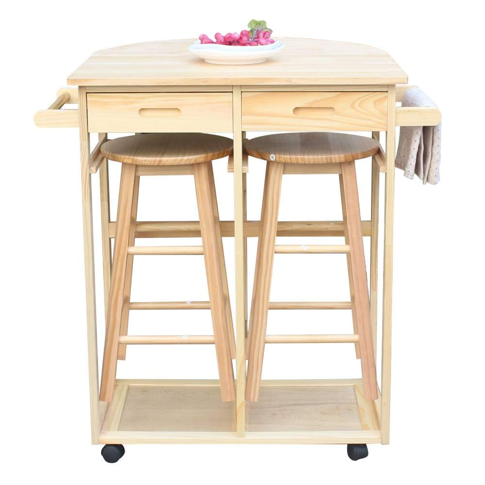 Binlin Kitchen Trolley Cart,3PCS Wood Kitchen Rolling Casters Fold Table Drop Leaf 2 Drawers with 2 Stools