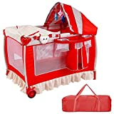 Baby Cot and Change Table Set Baby Crib Red SBP-250