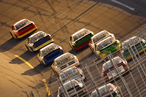 (Stock Car Race Going Into A Turn Photo Art Print Poster 18x12 inch)