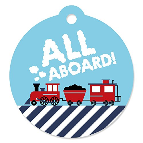 Train Railroad Photo Real (Railroad Party Crossing - Steam Train Birthday Party or Baby Shower Favor Gift Tags (Set of 20))