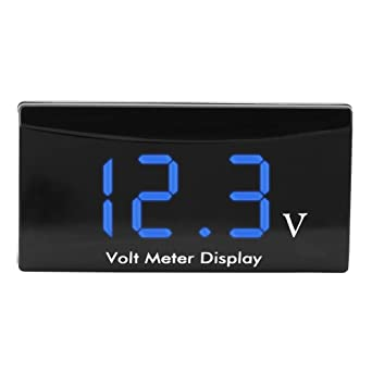 12 V DC Motorrad LED Digital Voltmeter Spannungsmesser Meter Wasserdicht Blau DE