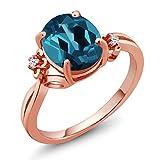 2.83 Ct Oval London Blue Topaz 14K Rose Gold Ring (Ring Size 7)
