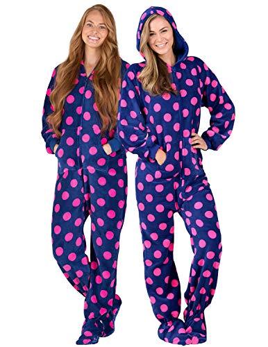 Footed Pajamas - - Navy Pink Polka Adult Hoodie Chenille Onesie - Large Plus -
