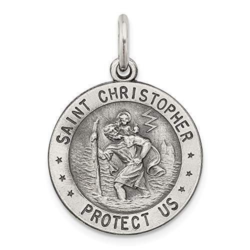 - 925 Sterling Silver Saint Christopher Us Navy Medal Pendant Charm Necklace Military Religious Patron St Fine Jewelry Gifts For Women For Her