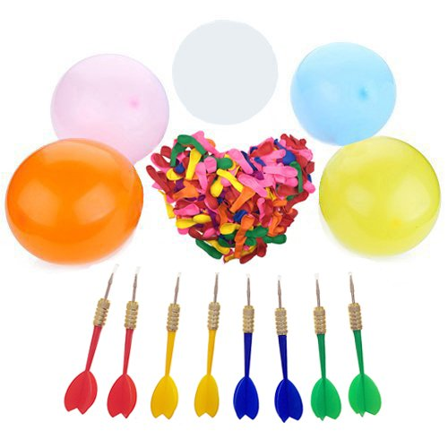 SIX VANKA Dart Balloons 300pcs 5 Assorted Color Latex Water Balloon + 8pcs Plastic Darts Bundle for Outdoor Carnival Pop Party Fight Game