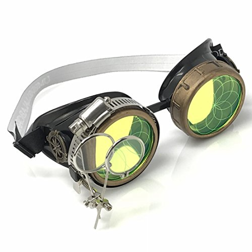 - Steampunk Victorian Style Goggles with Compass Design, Neon Green Circle Eternity Pattern Lenses & Ocular Loupe